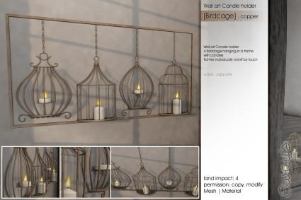 Sway's [Birdcage]Wallart Candleholder copper
