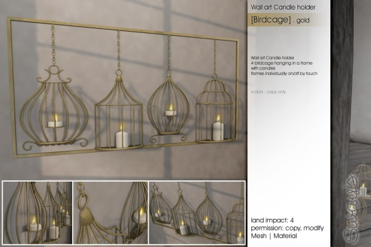 Sway's [Birdcage]Wallart Candleholder gold